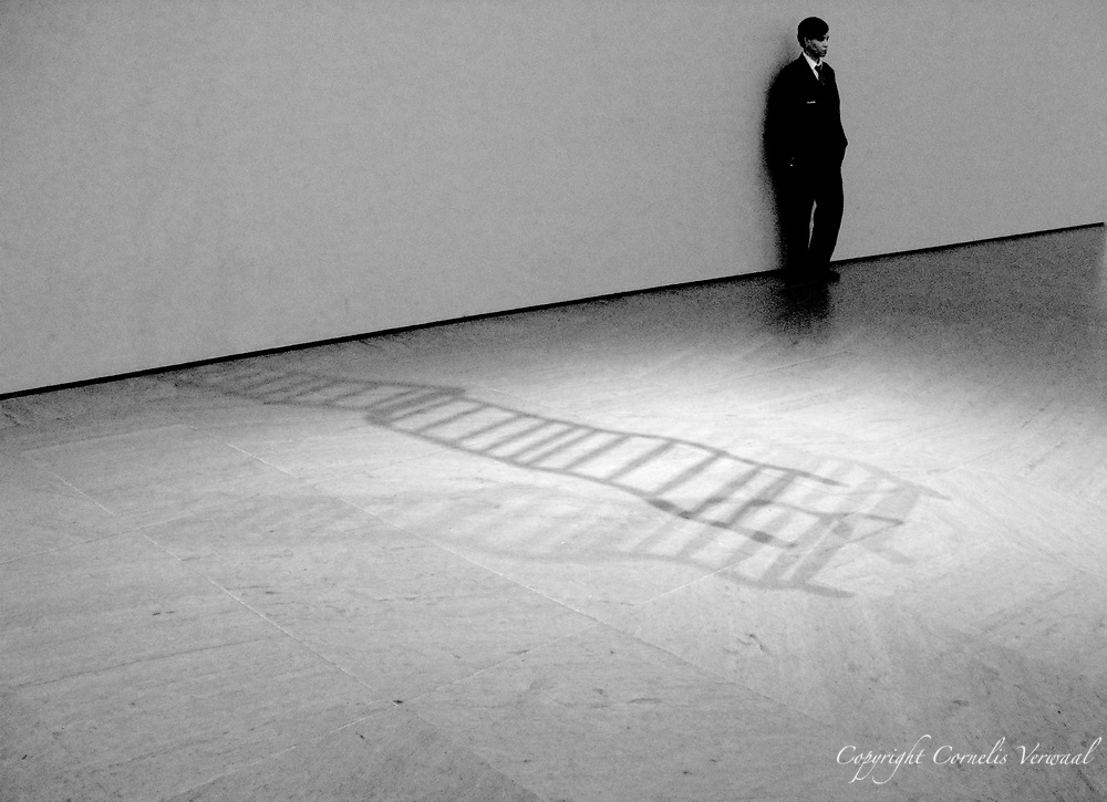 """Shadow of """"Ladder for Booker T. Washington"""" (1996) by Ad Astra; MoMa (Museum of Modern Art), New York, 2007."""