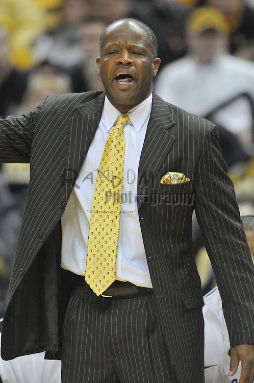 Jan 23, 2010; Columbia, MO, USA; Missouri Tigers head coach Mike Anderson reacts to a call in the first half of the game against the Nebraska Cornhuskers at Mizzou Arena in Columbia, MO.  Mandatory Credit: Denny Medley-US PRESSWIRE