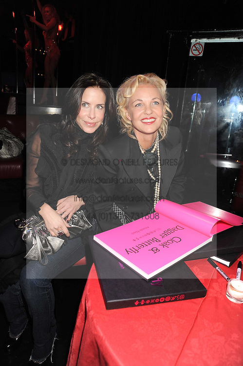 Left to right, Anna Paula Pzevedo and AMANDA ELIASCH at a party to celebrate the publication of Cloak & Dagger Butterfly by Amanda Eliasch held at the Soho Revue Bar, London on 17th November 2008.