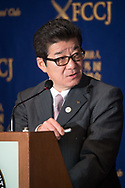 """Gov. Matsui, who is also leader of the political party Nippon Ishin no Kai answers to a journalist question during a press conference at The Foreign Correspondent Club Of Japan ( FCCJ ) on 14th of April. He is at the forefront of the 2025 Expo push. The central government is reportedly moving ahead with plans to nominate Osaka later this spring to host the 2025 World Expo. With Paris also bidding for the Expo, there are also worries about the competition. Under the theme of """"Designing Future Society for Our Lives,"""" the Osaka Expo would feature artificial intelligence, virtual reality, and other leading-edge technologies. Backers say it would provide an additional economic lift after the 2020 Tokyo Olympics. 14/04/2017-Tokyo, JAPAN"""