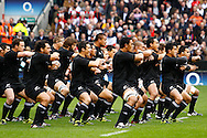 The All Blacks perform the Haka before the Investec series international between England and the New Zealand All Blacks at Twickenham, London, Looks on Saturday 6th November 2010. (Photo by Andrew Tobin/SLIK images)