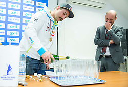 Press conference of Filip Flisar of Slovenia after winning gold at World Championship in Ski cross 2015 in Kreischberg (at picture with Jurij Zurej, director of SZS), on January 27, 2015 in SZS, Ljubljana, Slovenia. Photo by Vid Ponikvar / Sportida