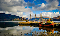 The puffer 'Vital Spark' tied up at low tide at Inveraray, Argyle and Bute, Scotland<br /> <br /> (c) Andrew Wilson | Edinburgh Elite media