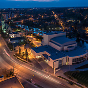 River Run centre, Sleeman centre, and woolwich street at night.