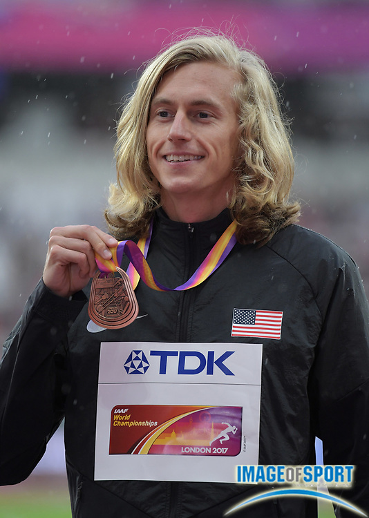 Aug 9, 2017; London, United Kingdom; Evan Jager (USA) poses with the bronze medal after placing third in the steeplechase during the IAAF World Championships in Athletics at London Stadium at Queen Elizabeth Park.
