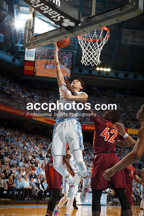 CHAPEL HILL, NC - JANUARY 26: Justin Jackson #44 of the North Carolina Tar Heels scores against the Virginia Tech Hokies on January 26, 2017 at the Dean Smith Center in Chapel Hill, North Carolina. North Carolina won 91-72. (Photo by Peyton Williams/UNC/Getty Images) *** Local Caption *** Justin Jackson