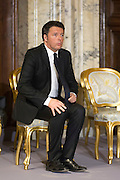 Rome dec 21th 2015, traditional Christmas greetings at Presidential Palace. In the picture Matteo Renzi