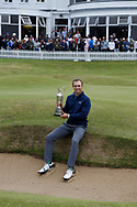 Jordan Spieth with the trophy at the presentation after winning