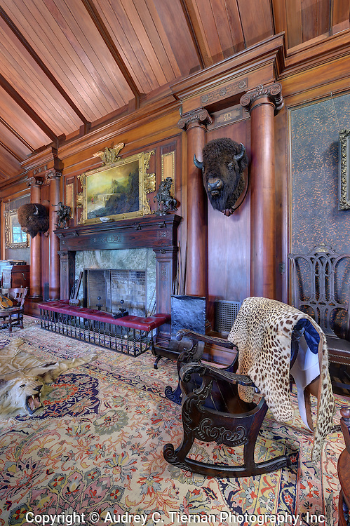 Oyster Bay, NY,  September 14, 2015: ---   Sagamore Hill was the home of the 26th president of the United States, Theodore Roosevelt. The home recently underwent a ten million dollar renovation.  This is the mantle in the North Room flanked by two bison heads. © Audrey C. Tiernan