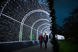 © Licensed to London News Pictures. 21/11/2017. London, UK. Visitors walk through an illuminated tunnel at the opening of Christmas at Kew at Royal Botanical Gardens, Kew. The spectacular displays are illuminated by over one million tiny twinkling lights placed all over Kew Gardens - open Wednesdays – Sundays from 22 November 2017 – 2 January 2017. London, UK. Photo credit: Peter Macdiarmid/LNP