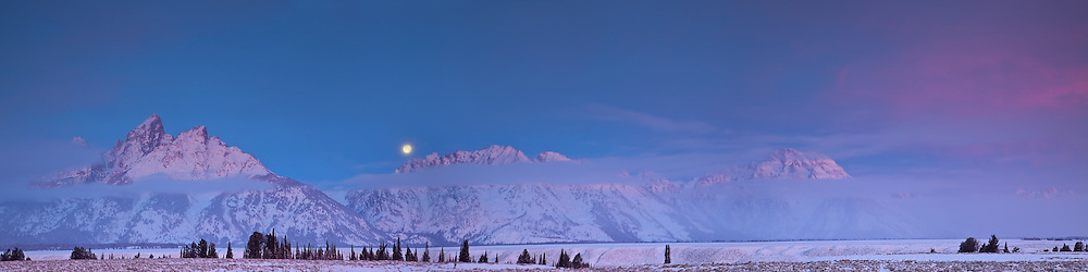 """Sunrise, Full Moon, Grand Tetons, Grand Teton National Park, Jackson Hole Wyoming<br /> <br /> For production prints or stock photos click the Purchase Print/License Photo Button in upper Right; for Fine Art """"Custom Prints"""" contact Daryl - 208-709-3250 or dh@greater-yellowstone.com"""