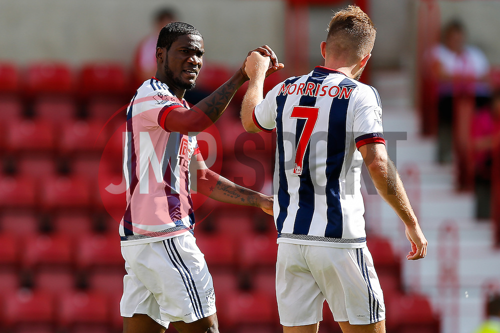 Brown Ideye congratulates James Morrison of West Brom - Mandatory byline: Rogan Thomson/JMP - 07966 386802 - 25/07/2015 - SPORT - Football - Swindon, England - The County Ground - Swindon Town v West Bromwich Albion - 2015/16 Pre Season Friendly.