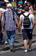Roma 11 Giugno 2011.EuroPride 2011.La Sfilata del Gay pride, la giornatà dell' orgoglio omossessuale per le vie della città. Una coppia gay