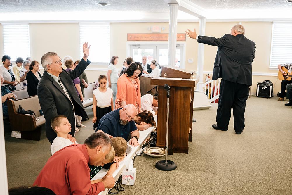 Pastor Chuck Donivan preaches to church members during service at Full Gospel Pentecostal Church in Martinsburg, WV on June 4, 2017.