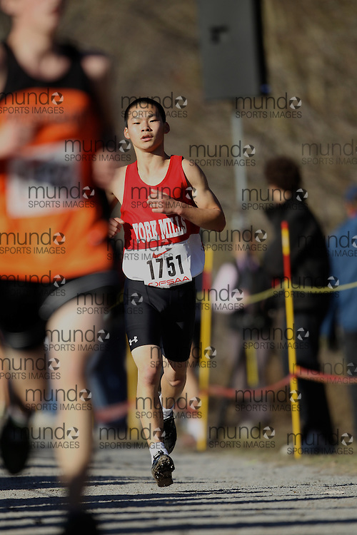 Tian-Shi Ning of York Mills CI competes in the senior boys race at the 2011 OFSAA Cross Country Championships in Ottawa, Ontario, November 5, 2011..GEOFF ROBINS/ Mundo Sport Images