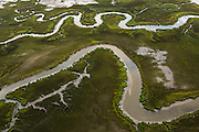 Aerial view of the salt marsh in Charleston, SC.