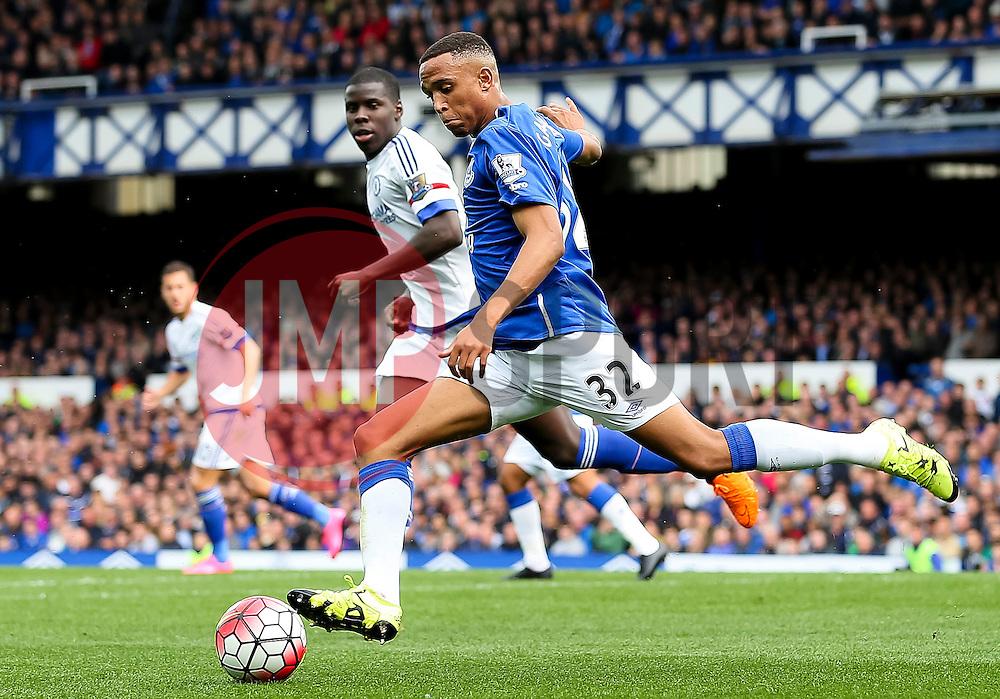 Everton's Brendan Galloway clears the ball - Mandatory byline: Matt McNulty/JMP - 07966386802 - 12/09/2015 - FOOTBALL - Goodison Park -Everton,England - Everton v Chelsea - Barclays Premier League