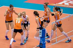 18-05-2016 JAP: OKT Nederland - Dominicaanse Republiek, Tokio<br /> Nederland is weer een stap dichterbij kwalificatie voor de Olympische Spelen. Dit dankzij een 3-0 overwinning op de Dominicaanse Republiek / Anne Buijs #11, Debby Stam-Pilon #16, Laura Dijkema #14, Maret Balkestein-Grothues #6, Yvon Belien #3