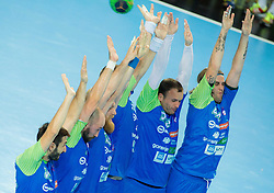 Players of Slovenia during handball match between National Teams of Slovenia and Slovakia in Qualification 2 of 2016 Men's European Championship, on October 29, 2014 in Arena Bonifika, Koper, Slovenia. Photo by Vid Ponikvar / Sportida