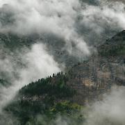 Clouds and fog in Many Glacier, Glacier National Park, Montana