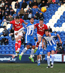 Bristol City's Aden Flint scores a goal. - Photo mandatory by-line: Dougie Allward/JMP - Mobile: 07966 386802 - 21/02/2015 - SPORT - Football - Colchester - Colchester Community Stadium - Colchester United v Bristol City - Sky Bet League One