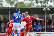 Eastleigh Forward, Craig McAllister (19) beats Wrexham AFC Forward, Jordan White (9) to the ball during the Vanarama National League match between Eastleigh and Wrexham FC at Arena Stadium, Eastleigh, United Kingdom on 29 April 2017. Photo by Adam Rivers.