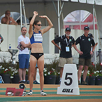 Noelle Montcalm greets the crowd before the start of the Women's 400m Hurdle Final at the Athletics Canada 2016 Olympic Trials at Foote Field, Edmonton