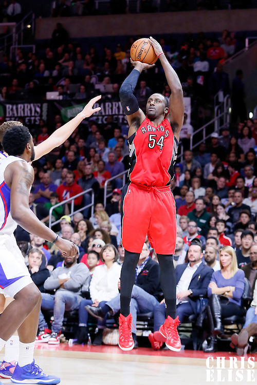 27 December 2014: Toronto Raptors forward Patrick Patterson (54) takes a jump shot during the Toronto Raptors 110-98 victory over the Los Angeles Clippers, at the Staples Center, Los Angeles, California, USA.
