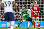 Goal! Tottenham Hotspur midfielder Giovani Lo Celso (18) scores a goal 1-0 during the FA Cup third round replay match between Tottenham Hotspur and Middlesbrough at Tottenham Hotspur Stadium, London, United Kingdom on 14 January 2020.