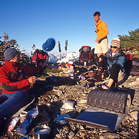 Making camp on Easy Ridge during the approach to the North Pickets, North Cascades National Park.