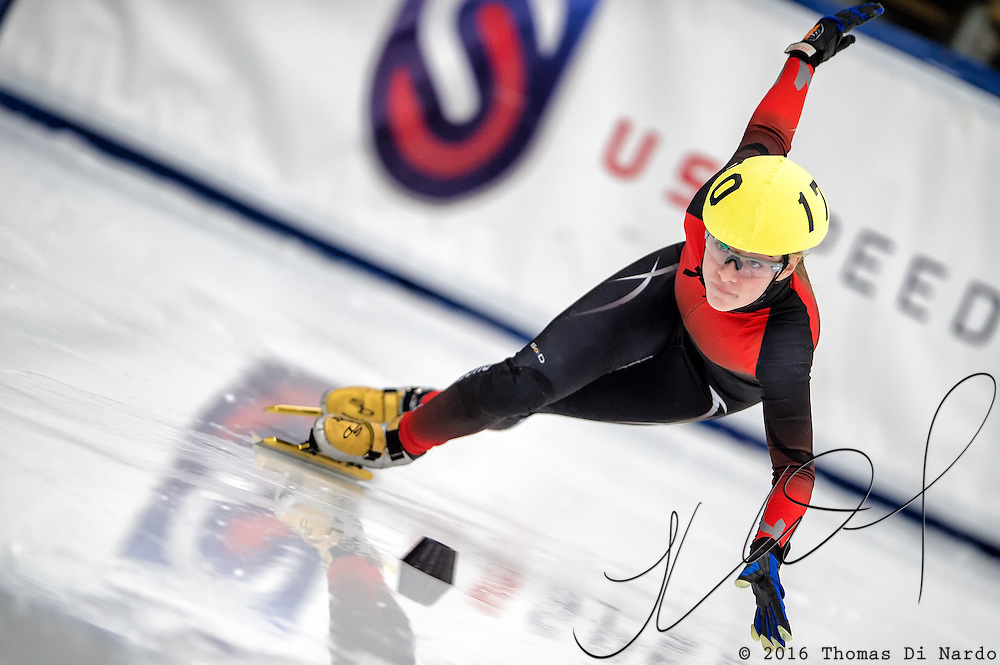 March 19, 2016 - Verona, WI - Corinne Stoddard, skater number 170 competes in US Speedskating Short Track Age Group Nationals and AmCup Final held at the Verona Ice Arena.