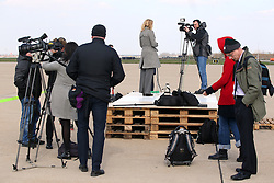 14.03.2016, Zagreb, CRO, der Britische Kronprinz Charles und seine Frau Camilla besuchen Kroatien, im Bild British Crown Prince Charles and his wife Camilla, the Duchess of Cornwall, are visiting Croatia as part of a regional tour that will include Serbia, Montenegro and Kosovo. Numerous media ready for the arrival of Their Royal Highness the Prince of Wales and Duchess of Cornwall in Zagreb Airport. EXPA Pictures © 2016, PhotoCredit: EXPA/ Pixsell/ Igor Kralj/POOL<br /> <br /> *****ATTENTION - for AUT, SLO, SUI, SWE, ITA, FRA only*****