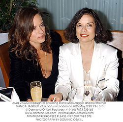 JADE JAGGER daughter of Rolling Stone Mick Jagger and her mother BIANCA JAGGER, at a party in London on 28th May 2002.	PAL 313