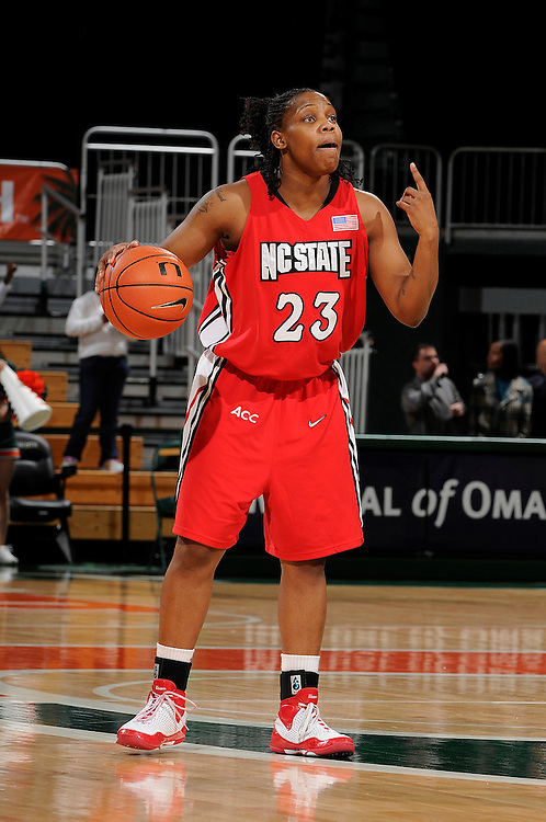 January 22, 2009: Shayla Fields of the North Carolina State Wolfpack in action during the NCAA basketball game between the Miami Hurricanes and the North Carolina State Wolfpack. The 'Canes defeated the Wolfpack 72-60.