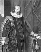 Francis Bacon (1561-1626) Viscount St Albans. English philosopher, scientist and statesman. Shown here after his appointment as Lord Chancellor (1618). In science advocated observation and experiment rather than Aristotelian deductive logic. Copperplate engraving.