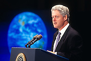 WASHINGTON, DC - October 6: President Bill Clinton speaking at global warming conference at Georgetown University in Washington, DC. October 6, 1997  (Photo RIchard Ellis)