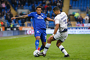 Nathaniel Mendez-Laing of Cardiff City and James Meredith of Millwall during the EFL Sky Bet Championship match between Cardiff City and Millwall at the Cardiff City Stadium, Cardiff, Wales on 28 October 2017. Photo by Andrew Lewis.