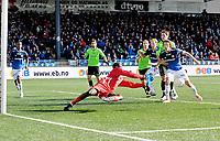 Fotball Herrer Tippeligaen 2013<br /> Marienlyst Stadion Gamle Gress  07.04.2013<br /> <br /> Strømsgodset vs Sarpsborg 08<br /> <br /> Resultat 1 - 1<br /> <br /> Foto: Robert Christensen Digitalsport<br /> <br /> Sarpsborg 08 keeper Duwayne Kerr hadde mye å gjøre men leverte en kjempekamp