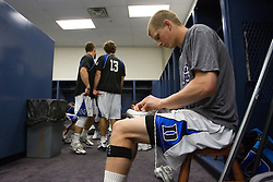 28 May 2007: Duke Blue Devils defenseman Jay Jennison (49) pregame in the locker room before playing Johns Hopkins in the NCAA Championship at M&T Stadium in Baltimore, MD.
