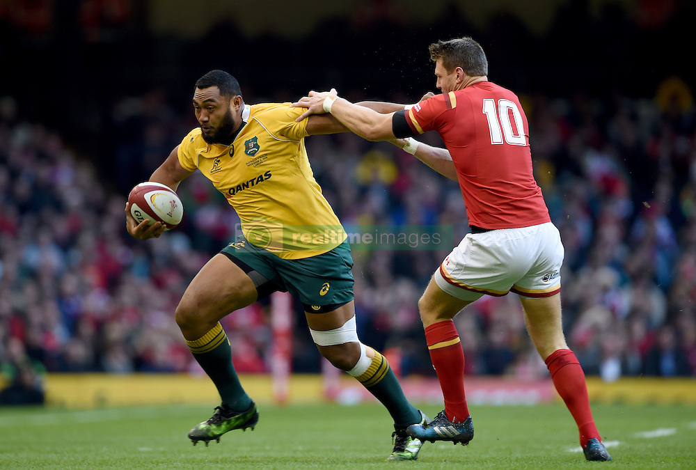 Australia's Sekope Kepu (left) and Wales' Dan Biggar (right) in action during the Autumn International match at the Principality Stadium, Cardiff.