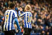 Sheffield Wednesday vice captain Barry Bannan raises his hands to the crowd celebrating his first goal during the EFL Sky Bet Championship match between Sheffield Wednesday and Bristol City at Hillsborough, Sheffield, England on 22 December 2019.
