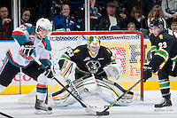 KELOWNA, CANADA - JANUARY 26: Andy Desautels #33 of the Prince Albert Raiders blocks a shot on net at the Kelowna Rockets on January 26, 2013 at Prospera Place in Kelowna, British Columbia, Canada (Photo by Marissa Baecker/Shoot the Breeze) *** Local Caption ***