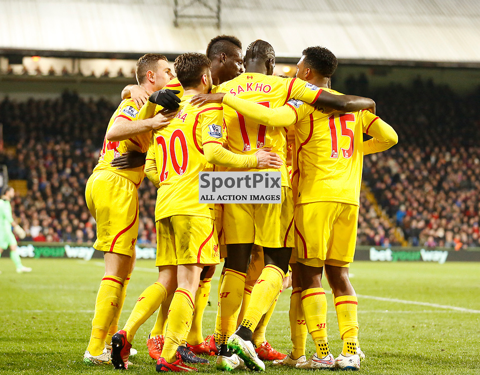 Liverpool celebrate their second | Crystal Palace v Liverpool FC - Selhurst Park - FA Cup 5th Round - 14/02/2015  | Andy Walter (c) Sportpix.org|
