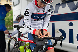 Cecilia Uttrup Ludwig (DEN) of Cervélo-Bigla Cycling Team perpares for Stage 2 of the Emakumeen Bira - a 90.8 km road race, starting and finishing in Markina Xemein on May 18, 2017, in Basque Country, Spain. (Photo by Balint Hamvas/Velofocus)