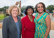 Julia Dimmett, Rosemary McGowan and Houston ISD Trustee Rhonda Skillern-Jones pose for a photograph following a groundbreaking ceremony at Barbara Jordan Career Center, May 9, 2017.