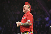Peter Wright  loses another leg to Phil Taylor  during the Betway Premier League Darts at the Manchester Arena, Manchester, United Kingdom on 23 March 2017. Photo by Mark Pollitt.