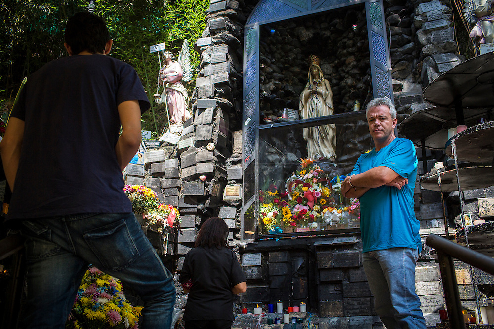 "2015/11/24 - Medellín, Colombia: John Velásquez, best known as ""Popeye"", in Maria ""Rosa Mistica"", the Virgin of Aguacatala altar in Medellín. ""Popeye"" was Pablo Escobar's former head assassin who was released last year from jail after 23 years of imprisonment. He confesses being the author of about 300 hundred murders ordered by Colombia's most famous drug lord. Velásquez is trying to integrate in society, writing already two book about his time with Escobar and has plans to make a movie. (Eduardo Leal)"