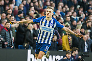 Leondro Trossard (Brighton) celebrates his goal during the Premier League match between Brighton and Hove Albion and Aston Villa at the American Express Community Stadium, Brighton and Hove, England on 18 January 2020.