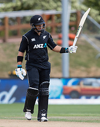New Zealand's Ross Taylor acknowledges the crowd's applause after scoring 50 against Pakistan in the third one day cricket international at the University of Otago Oval, Dunedin, New Zealand, Saturday, January 13, 2018. Credit:SNPA / Adam Binns ** NO ARCHIVING**