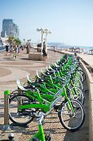 Rental bikes at a Tel-O-Fun rental station on the corniche in Tel Aviv, Israel. The bike share program is popular in Tel Aviv.